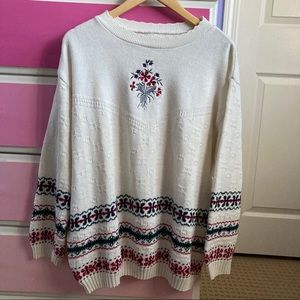 Vintage white red and blue floral knit sweater